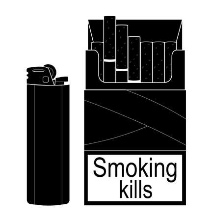 gas lighter: Open cigarettes pack with disposable gas lighter. Black and white illustration isolated