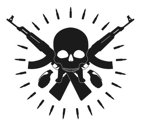 assault: Skull 2 grenades 2 crossed assault rifles and bullets emblem. Vector clip art illustration isolated on white