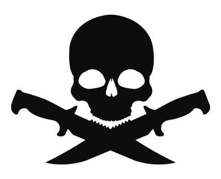 mercenary: Skull and 2 crossed knifes black emblem. Vector clip art illustration isolated on white