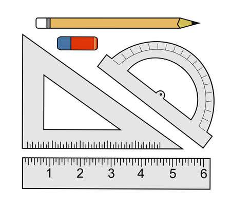 Education set. Pencil, eraser, protractor, triangle ruler, liner ruler. Vector clip art color illustrations isolated on white Illustration