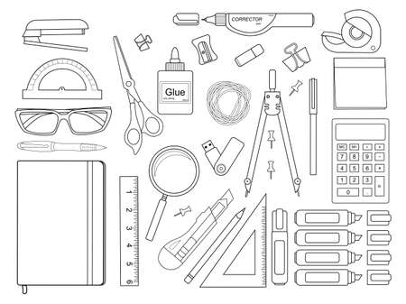 Stationery tools: pen, binder, clip, ruler, glue, zoom, scissors, scotch tape, stapler, corrector, glasses, pencil, calculator, eraser, knife, compasses, protractor, sticky notes. Contour lines Ilustração