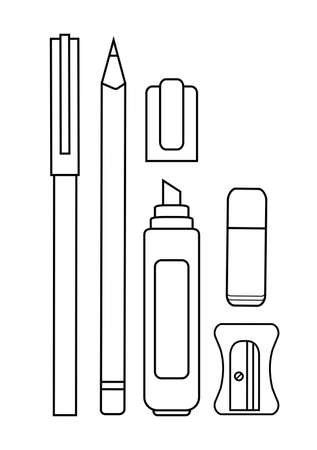 clerical: Stationery writing tools set. Pen, pencil, yellow marker, eraser, sharpener. Vector contour lines clip art illustration isolated on white