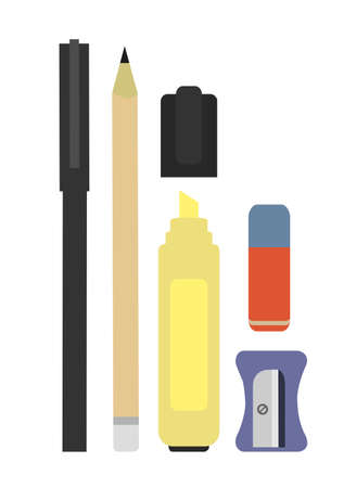 clerical: Stationery writing tools set. Pen, pencil, yellow marker, eraser, sharpener. Vector color clip art illustration isolated on white Illustration