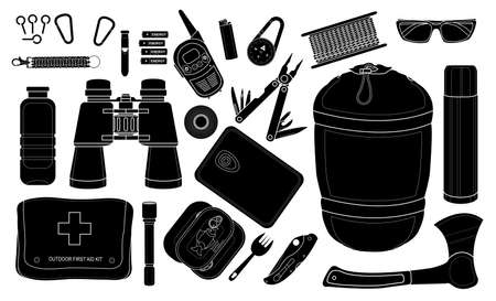 pocket flashlight: Set of survival camping equipment: flashlight, canned food, fork, food container, pocket knife, ax, whistle, batteries, radio set, lighter, compass,  rope, sunglasses, bracelet. Black and white Illustration