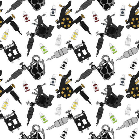 professionally: Tattoo machines and ink vector seamless pattern. Color