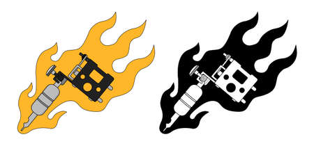 classic tattoo: Classic tattoo machine in flame. Color, black and white. Vector clip art illustrations isolated on white