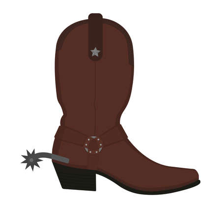 Wild west leather cowboy boot with spur and star. Color vector clip art illustration isolated on white