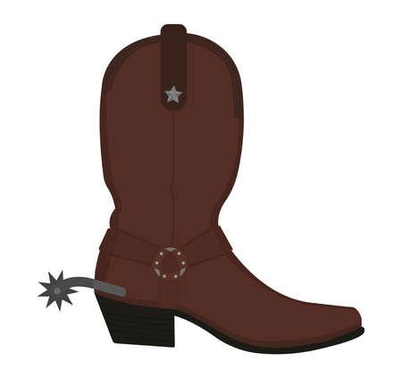 Wild west leren cowboylaars met aansporing en ster. Kleur vector illustraties illustratie geïsoleerd op wit