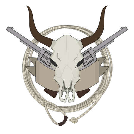 pistols: Wild west cow skull, pistols, ribbon, lasso logo. Color vector clip art illustration isolated on white