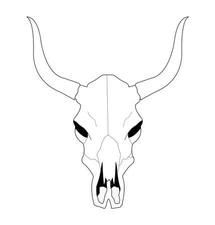 cow skull: Wild west cow skull with horns. Contour lines vector clip art illustration isolated on white