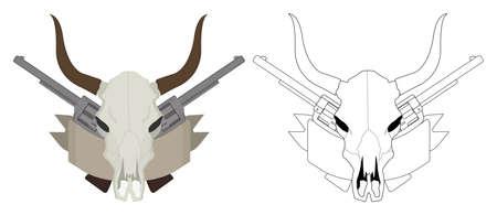 clip art: Selvaggio west cranio mucca, pistole, nastro logo. Linee di colore e di contorno ClipArt vettoriale illustrazione isolato su bianco Vettoriali