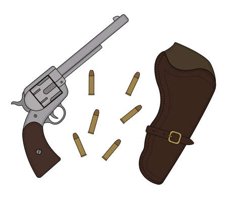 six shooter: Wild west wood handle revolver with leather holster and bullets. Vector clip art illustration isolated on white