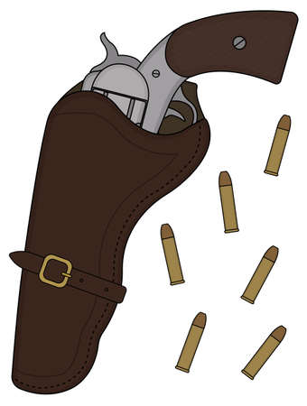 six shooter: Wild west wood handle revolver in leather holster with bullets. Vector color clip art illustration isolated on white Illustration