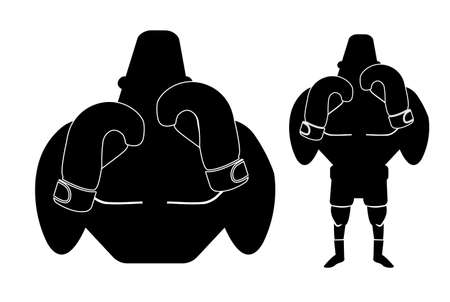stance: Silhouette of big muscular boxer in fight stance. Vector black color illustration isolated on white