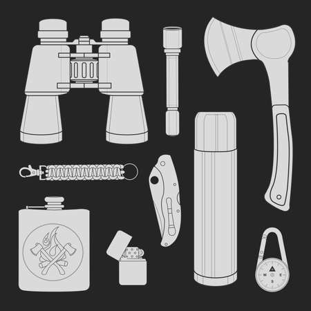 pocket flashlight: Camping set: binoculars, flashlight, ax, survival paracord bracelet, folding pocket knife, aluminum thermos, compass, lighter, flask. Chalk on blackboard vector clip art illustration