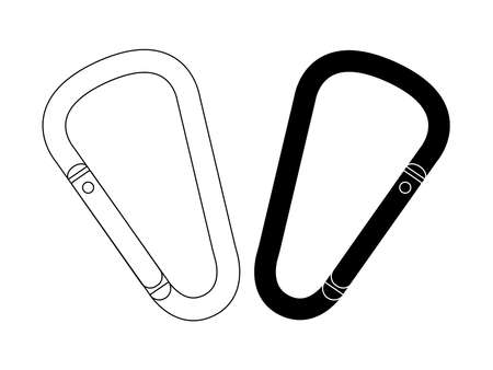 Set of safety hiking metal mountain climbing carabiners. Black and contour. Clip art vector illustration isolated on white