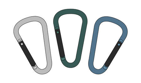 climbing gear: Set of safety hiking metal mountain climbing carabiners. Silver, green blue. Color clip art vector illustration isolated on white Illustration