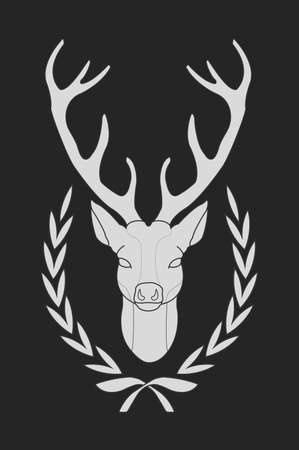 taxidermy: Hunting trophy. Stuffed taxidermy deer head with big antlers in laurel wreath. Blackboard chalk vector illustration isolated on black
