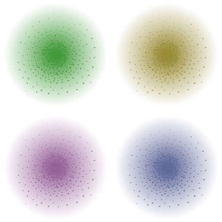 clip art: Vernice effetto spruzzo. Verde, oro, viola, colore schizza blu. Illustrazione di clip art illustrazione isolato su bianco