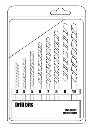 auger: Sharp different sizes steel drill bits in black pack. Contour lines vector illustration isolated on white