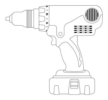 cordless: Electric cordless hand drill icon in black and yellow colors. Contour lines vector illustration isolated on white Illustration