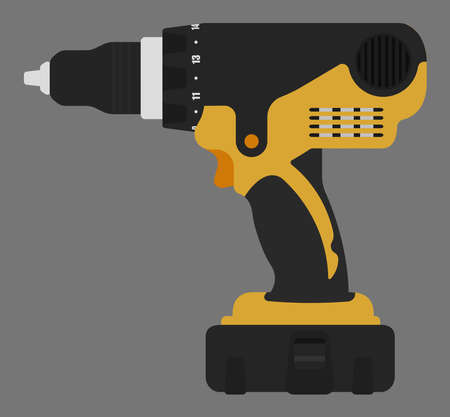 cordless: Electric cordless hand drill icon in black and yellow colors. Clip art vector illustration isolated.