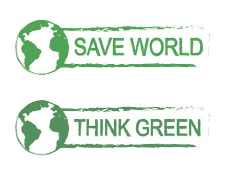 think green: Ahorre mundo, pensar, cero grunge vector signo de impresi�n de graffiti verde con el icono de la tierra del planeta en color verde aislado en blanco Vectores