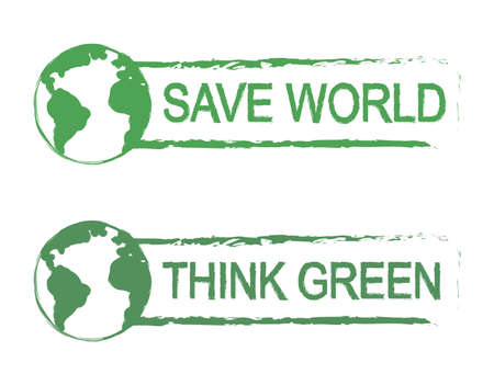 think green: Save world, think green, scratch grunge vector graffiti print sign with planet earth icon in green color isolated on white Illustration