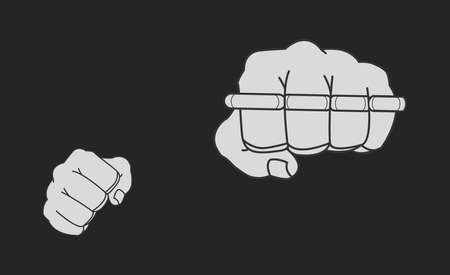 thug: Clenched striking man fists holding brass-knuckle. Front punch. Chalk illustration isolated on blackboard
