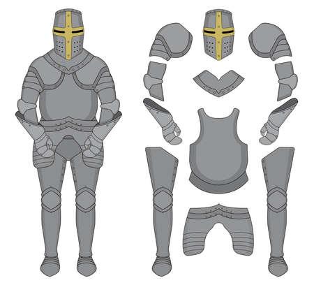 Średniowieczny rycerz templariuszy pancerz ustawiony. Kask, ramiona, rękawiczki, napierśnik, spodnie. Klip sztuki ilustracji wektorowych kolor wyizolowanych na białym