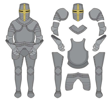 Medieval templar knight armor set. Helmet, shoulders, gloves, breastplate, leggings. Color clip art vector illustration isolated on white Illusztráció