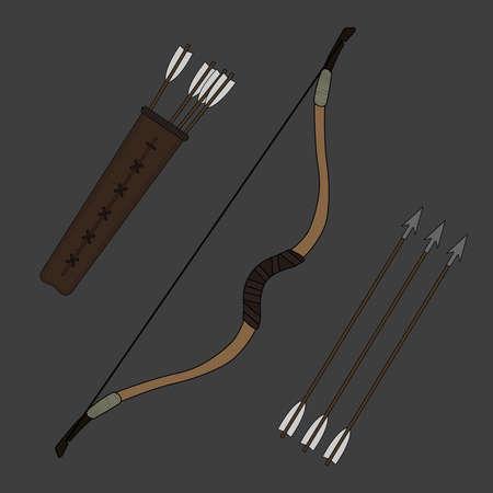 clip art: Medievale cavaliere arciere arco di legno lungo con le frecce e faretra. Colore clip art illustrazione vettoriale isolato