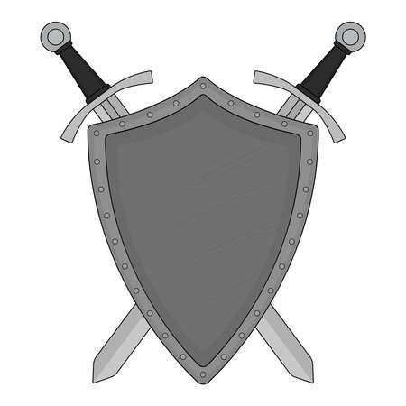crossed swords: Dos espadas cruzadas escudo de acero her�ldica emblema. Logotipo de Seguridad. Arte clip color ilustraci�n vectorial aislado en blanco Vectores