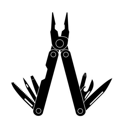 can opener: Stainless steel multifunctional pocket multi tool instrument with pliers, razor sharp knife, can opener, screwdriver, saw, bottle opener, awl. Black and white illustration isolated on white