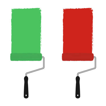redecorate: Green and red color paint roller with trace of paint. Vector clip art illustration isolated on white