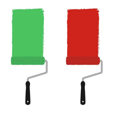 clip art: Verde e rosso vernice di colore rullo con tracce di vernice. Illustrazione di clip art illustrazione isolato su bianco Vettoriali