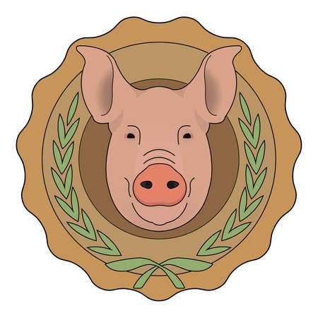 butchery: Butchery organic food vector eco logo. Big pink pig head in orange stamp with laurel wreath. Color vector illustration isolated on  white Illustration