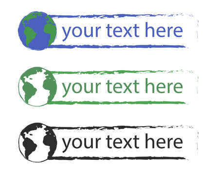 conservancy: Grunge scratched graffiti text boxes with planet earth icon. Blue, green, black. Vector clip art illustration isolated on white. Space for text Illustration