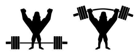 clip art: Sportivo sollevamento pesante bilanciere. Atleta in piedi con le mani alzate. Vector clip art linee di contorno illustrazione isolato su bianco Vettoriali