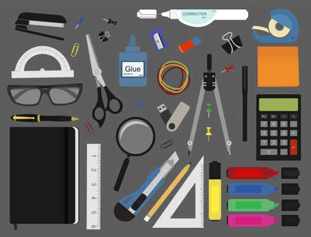tape marker: Stationery tools: marker, paper clip, pen, binder, clip, ruler, glue, zoom, scissors, stapler, corrector, glasses, pencil, calculator, eraser, compasses, protractor. No outlines vector illustration