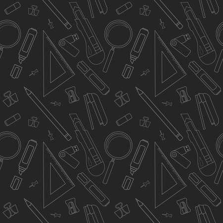 chalk eraser: Stationery tools vector pattern: eraser, clip, binder, pencil, knife, magnifying glass, green marker, usb flash drive, yellow marker, sharpener, stapler, triangular ruler. Chalk illustration