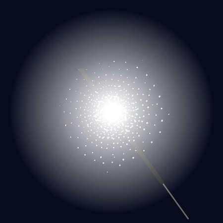bengal light: Burning sparkler bengal light vector clip art illustration isolated on black