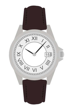 Stylish classic luxury mechanic business hand watches with roman numerals. Leather belt. Clip art. Color no outline illustration isolated on white Vector