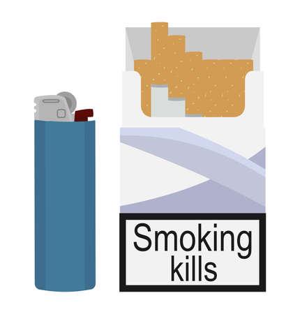 clip art: Aperte le sigarette pacco con accendino blu gas usa e getta. Arte clip colore senza illustrazione vettoriale contorno isolato su bianco