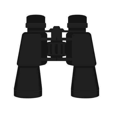 binoculars view: Realistic travel vector binoculars icon. Black color. No outline illustration isolated on white
