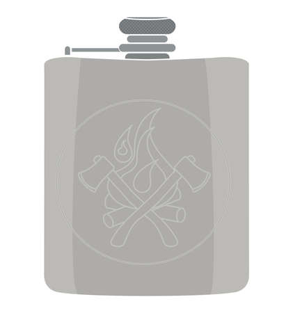 hip flask: Realistic drinking silver shiny vector flask icon. Color no outline illustration isolated on white