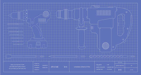 Drill, hammer drill and bits engineer blueprint. Vector schematic illustrations