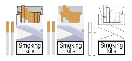 cigarette pack: Cigarette pack icons. Color, no outline, linear. Vector clip art illustrations isolated on white