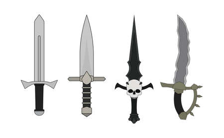 bloodshed: Fantasy rpg game resources. Daggers set. Human, elf, vampire, orc. Vector clip art illustration isolated on white