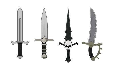 bloodshed: Recursos del juego rpg Fantas�a. Dagas establecen. Humano, elfo, vampiro, orco. Vector de im�genes predise�adas ilustraci�n aislado en blanco